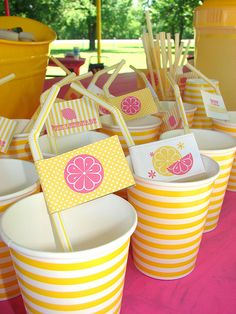 decor, food and lemonade stand ideas