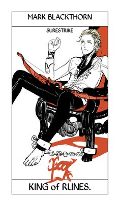 Mark Blackthorn, chained to his chair, is Surestrike. The Minor Arcana of Shadowhunter Tarot by Cassandra Jean