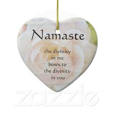 Namaste Divinity Flower Heart Ornament from Zazzle.com