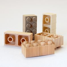 Japanese company Mokulock makes eco-friendly wooden versions of the famous LEGO bricks.