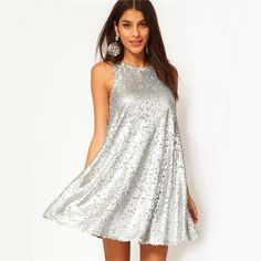 Sexy Shiny Silver Sequin Sleeveless Halter-Style Swing Dress S-2XL