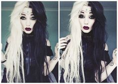 hair, hair color, multi-colored hair, half and half, blonde hair, black hair