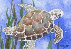 Tortue de mer aquarelle signée tirage d'Art par par k9artgallery