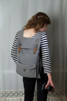 Wish it were bigger!:( Big laptop backpack in grey with brown buckles by Marinsss on Etsy, $38.00