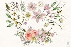 Watercolor antlers floral wild Vol.2 by GrafikBoutique on Creative Market