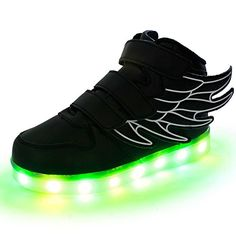 innovative design 5479f 454bc O N Kids Boy Girl LED Light Up Sneaker Athletic Wings Trainers High-top  Shoes USB Charging Shoes Black  Amazon.co.uk  Clothing