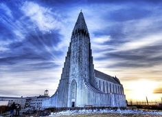 Templos Religiosos - Hallgrímskirkja, Reykjavik, na Islândia.