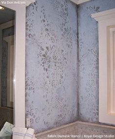 This Fabric Damask Wall Stencil is one of our most popular stencil patterns! All of our allover and damask stencil patterns feature an easy stencil registration system, allowing you to repeat these st Damask Wall Stencils, Damask Decor, Stencil Fabric, Stenciling, Stencil Patterns, Faux Painting Walls, Faux Walls, Plaster Walls, Distressed Walls