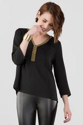 Shanaya Beaded Blouse  Everyone needs a go to black shirt, and EVERYONE NEEDS this go to beautiful black blouse with gold accents for an easy dressy look