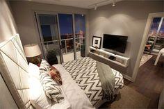 New Diy Home Decor Bedroom Ideas Small Spaces Guest Rooms Ideas Bedroom Tv Wall, Condo Bedroom, Bedroom Storage, Diy Bedroom, Bed Room, Queen Bedroom, Bedroom Small, Trendy Bedroom, Bedroom With Tv