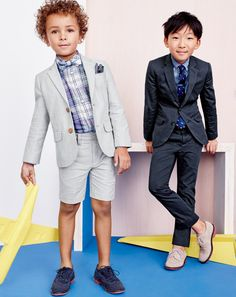 Crewcuts awesome alert: Fancy-not-fidgety means our lightweight Italian chino and Oxford cloth suits, plus cool and comfy wing tips and bucks.