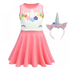 Unicorn Pink Dress for Girls - Pet Lovers Home Shop Gifts for Pet Lovers Girls Party Dress, Girls Dresses, Unicorn Dress, Girl Costumes, Cotton Dresses, Pink Dress, Girl Outfits, Deal Today, Tech