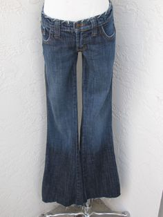 Frankie B. size 6 blue denim stretch low rise boot cut jeans