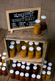 Homemade BBQ sauce favors, pick a flavor // Jeanne Mitchum Photography