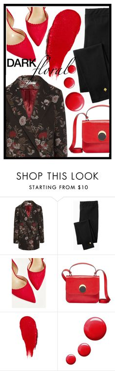 """""""dark florals"""" by lovedreamfashion ❤ liked on Polyvore featuring Ganni, Kate Spade, Marni, Rodin, Topshop, floral, black, red, Flowers and darkflorals"""