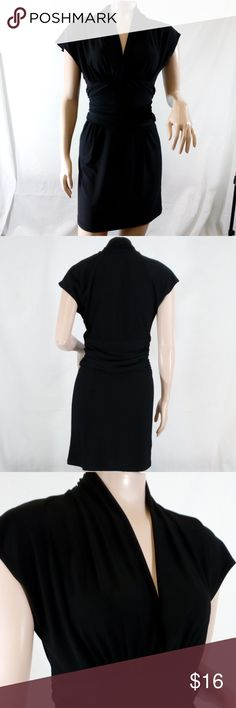 """LA Class Jersey Extended Sleeve Dress LA Class extended sleeve ruched jersey little black dress; ruching at waist, under bust, and neck. This dress can go anywhere- to work, school, a cocktail party, or dancing; dress up or down.  Length from back neck seam 33"""", across bust 15.5"""".  92% polyester, 8% spandex.  Gently used condition. LA Class Dresses"""