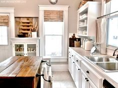 Incredible White Kitchen Design Ideas With Rectangular Reclaimed Wood Kitchen Island And Double Bowl Steel Kitchen Sinks. This picture is one of many ideas on 30 white and wood kitchen ideas. Country Kitchen, New Kitchen, Vintage Kitchen, Kitchen Dining, Kitchen Decor, Kitchen Cabinets, Kitchen Ideas, White Cabinets, Vintage Farmhouse