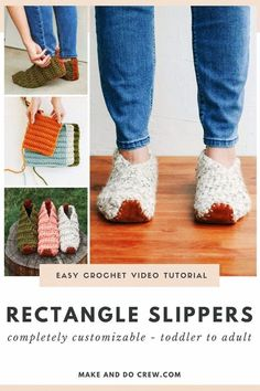 Learn how to crochet slippers from simple rectangles in this easy video tutorial from Make & Do Crew. This beginner crochet project is so simple and perfect for a DIY gift idea. Use Lion Brand Wool-Ease Thick & Quick for these super warm crochet slippers. Follow along with the free pattern to crochet slippers for toddlers, kids, women and men! These cozy slippers will keep your toes warm all winter long. If you work from home, these are must-have footwear for your work from home outfits!