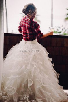 Gorgeous outfit: fluffy tulle skirt and the bride's favorite plaid shirt. perfect!  #weddingdress