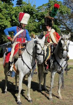 Chasseurs a Cheval of the Imperial Guard.  I'm not sure why the trumpeters plume is missing?
