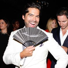 "With so many famous ""fans"" in attendance, Brian Atwood can't help but smile during his #NYFW kick-off party. #BrianAtwood"