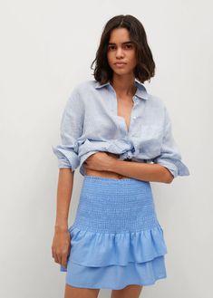 Ruffled linen miniskirt - Woman | Mango India Short Skirts, Mini Skirts, Lolita, Gina Tricot, Teen Fashion Outfits, Emporio Armani, Farmer, Mango, Tommy Hilfiger