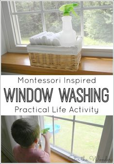 Inspired Window Washing Activity Preschoolers love helping out around the house! This Montessori Inspired window washing activity will teach a real practical life skill & fine motor skills.Montessori (disambiguation) Montessori may refer to: Montessori Baby, Montessori Homeschool, Montessori Classroom, Montessori Activities, Infant Activities, Preschool Activities, Homeschooling, Preschool Life Skills, Infant Games