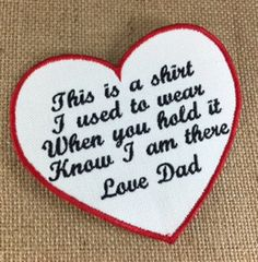 IRON ON Heart Shaped Memory Pillow Patch - Memorial Patch, This is a shirt I used to wear, In Memory Of, Shirt Pillow Patch, Memory Patches