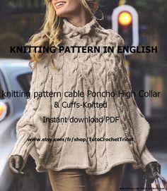 knitting pattern Poncho Bergere De France by TutoCrochetTricot