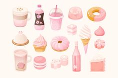 Sweets and desserts with sakura flavor. Food you can buy in every shop in Japan in May. Mochi, herb tea, donuts and cakes. What's inside file Ai file separate PNGs pinned by Cute Food Drawings, Kawaii Drawings, Cute Food Art, Cute Art, Walpapper Tumblr, Mochi, Silvester Trip, Dessert Chef, Desserts Drawing