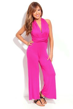 FUCHSIA SOFT VERSATILE WIDE LEG JUMPSUIT,Latest Fashion Rompers and Jumpsuits For Women-Stylish Rompers,Sexy Rompers,Cute Rompers,Pant rompe...