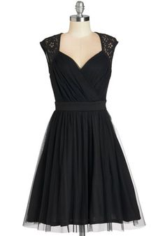 All Manners of Merriment Dress - Black, Solid, Lace, Special Occasion, Prom, Party, Cocktail, Homecoming, Fit & Flare, Cap Sleeves, LBD, Mid-length, Woven, Lace, Tulle