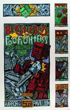 John Howard Beastie Boys Uncut Proofsheet Beastie Boys Foo Fighters  Harbor Pavillion 1/16/1996 Artist: John Howard silkscreen 22 x 35 inches
