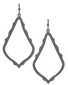 """Kendra Scott """"Sophee"""" Earrings in Gunmetal http://api.shopstyle.com/action/apiVisitRetailer?url=http%3A%2F%2Fwww.kendrascott.com%2Fsophee-drop-earrings-in-gunmetal.html%3FSID%3Du2eseetl1fkagjbj9fhsskskk1&pid=uid2689-24362633-53"""