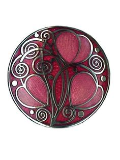 Hand made Brooch in Mackintosh Design with Red Enamel and Silver Rhodium