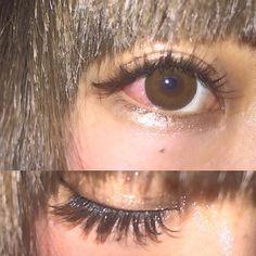 @__mamico さんにつけてもらいました♡ darkbrownとkhakibrownのmix☺︎♡♡ みなさんもpool @pool_eye にきてください! まみさんとお待ちしてます🙇💞💞 #まつげエクステ#カラーエクステ#原宿#pool#まつえく#マツエク#eyelash