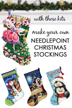 Dimensions sweet santa christmas stocking needlepoint kit this make and personalize a needlepoint christmas stocking for yourself or someone special with these beautiful kits needlepoint felt applique cross stitch solutioingenieria Images