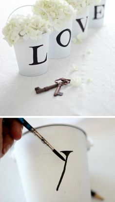 diy wedding decorations 270004940140128232 - White LOVE Buckets / Centerpieces – 17 Homemade Wedding Decorations for Couples on a Budget – EverAfterGuide Source by hushabye Table Decoration Wedding, Homemade Wedding Decorations, Wedding Crafts, Wedding Centerpieces, Wedding Table, Rustic Wedding, Diy Decoration, Wedding Decor On A Budget, Budget Bride
