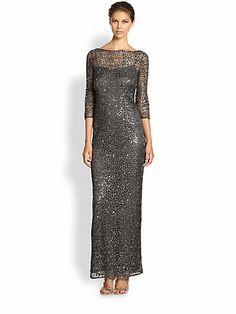 Kay Unger - Metallic Lace Dress - Saks.com