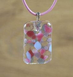 Pink and Lilac Marbled Glass Pendant