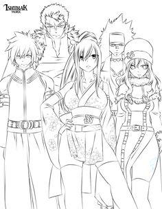 Fairy Tail Team (Lineart) by Ishthak.deviantart.com on @deviantART