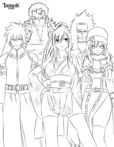Fairy Tail Team (Lineart) by Ishthak.deviantart.com on @deviantART