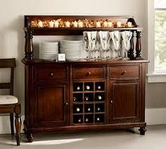 New Pottery Barn Montego Wine Cabinet Mahogany Stain Wine Buffet, Buffet Hutch, Bar Console, Mahogany Stain, Coffee Table Legs, Wine Cabinets, Simple House, Pottery Barn, Liquor Cabinet