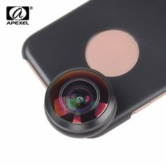 APEXEL Mobile Phone Lens 238 degree super fisheye lens, 0.2X Wide angle lens with back case and clip for iPhone 6 6s plus 7 //Price: $20.24//     #shop