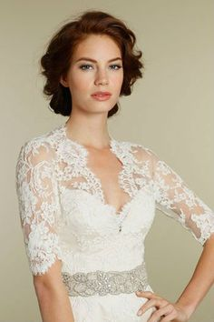 J001 Column/Sheath Full Lace Long Sleeve Wedding Dresses 2012