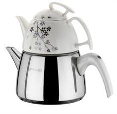 Emsan Seylan Mine Çaydanlık Seti detayları 0.8 lt Porselen Demlik 1,7 lt Çelik Çaydanlık
