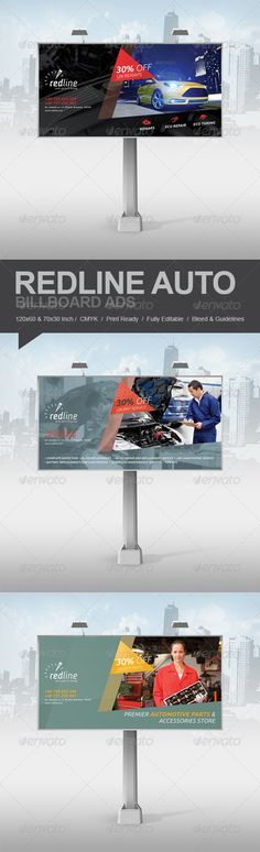 Redline Billboard Ads #GraphicRiver Promote your business with a unique and creative Billboard Ads template package. Perfect for a wide range of car repair, parts or tuning related businesses like: Repair Service, Auto Mechanic, Auto Parts Shop or Car Engine Tuning. Simple to work with and highly customizable, it ca be easily adjusted to fit your needs. The photos used in the design are not included in the download. Features: 120×60inch / 100dpi & 70×30inch / 150dpi CMYK Print Ready 3 design…