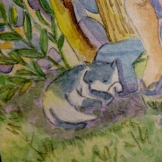 Detail of that car againbut now finished Her name I think is Morena  drawing watercolor cat graphicdiary dwgdaily