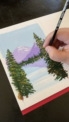 Gouache painting a mountain landscape - Art Drawings Canvas Painting Tutorials, Painting Videos, Painting Techniques, Watercolor Techniques, Small Canvas Art, Gouache Painting, Painting Art, Giraffe Painting, Acrylic Art Paintings