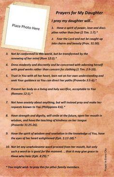 10 Prayers for My Daughter. FREE! Prayer Journal Printable